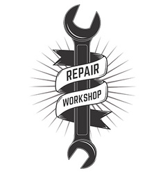 repair workshop label vector image