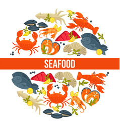 seafood poster of fresh fish catch for sea food vector image