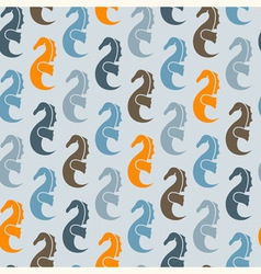 seamless pattern with sea horses vector image vector image