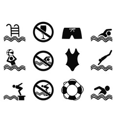 Swimming icons set vector