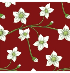 White Flowers on Twig Seamless Pattern vector image vector image