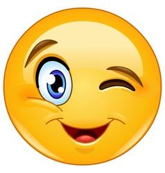 winking face emoticon vector image vector image