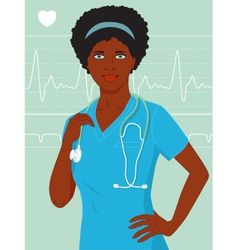 African-American nurse or doctor vector image