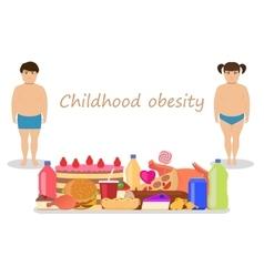 cartoon childhood obesity Children obese vector image
