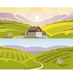Mountain Landscape Banner Set vector image