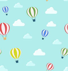 seamless pattern of air balloons and clouds vector image vector image