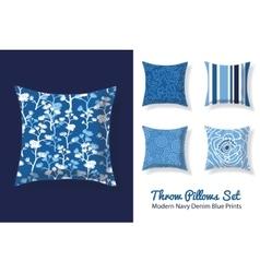 Set Of Throw Pillows In Matching Modern Denim Blue vector image