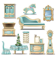shabby chic interior furniture and christmas tree vector image vector image