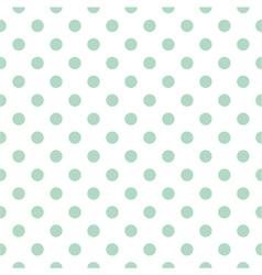 Tile pattern mint polka dots white background vector