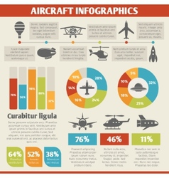 Aircraft icons infographic vector