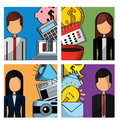 business people set work employee icons vector image