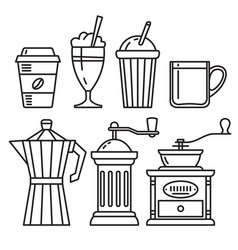 set of icons of coffee accessories vector image vector image