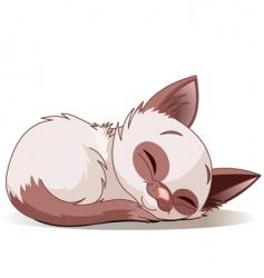 sleeping kitten vector image vector image