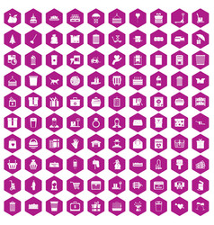 100 box icons hexagon violet vector