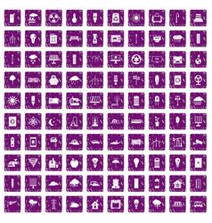 100 windmills icons set grunge purple vector