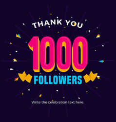 1000 followers card banner post template for vector
