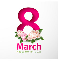 8 march womens day peony flower vector image