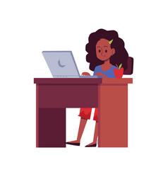 African american teen girl studying online flat vector