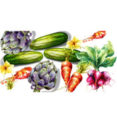 artichoke and other vegetables pattern vector image