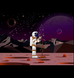 Astronaut plants a tree on a distant planet in vector