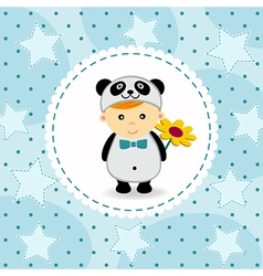 Baby boy in suit of panda vector