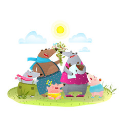 Bear family father mother kids and infant vector