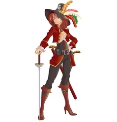 beautiful girl pirate vector image
