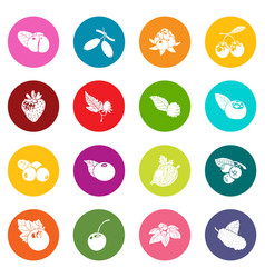 Berries icons set colorful circles vector