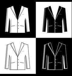 black and white silhouettes of mens suits vector image