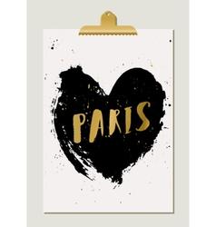 black heart paris poster vector image