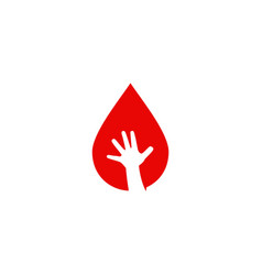 blood drop child hand logo icon vector image