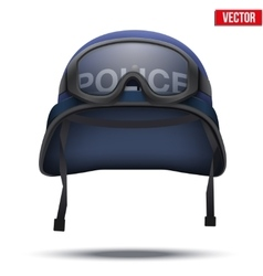 Blue Police helmets and mask vector image