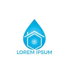 blue water drop home logo design vector image