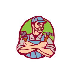 Builder Carpenter Paintbrush Hammer Linocut vector image