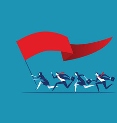 business team holding flag and running to success vector image