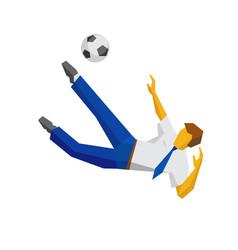 Businessman kicking soccer ball vector