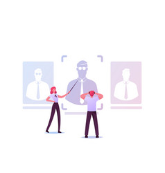 Businesspeople characters learning client or vector
