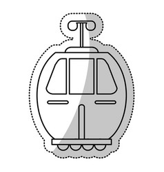 Cable car transport gondola cut line vector