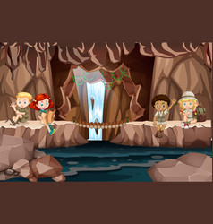 Camping kids in the cave vector