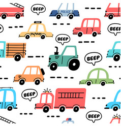 cartoon cars seamless pattern with truck police vector image