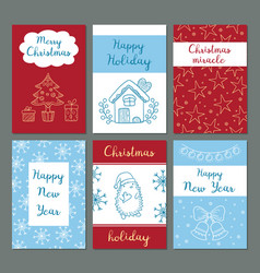 christmas cards winter celebration greetings vector image