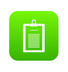 clipboard with checklist icon digital green vector image