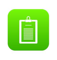 clipboard with checklist icon digital green vector image