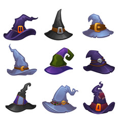 Collection of cartoon witch hats for your vector