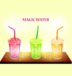 Color banner - three magic water on table glass vector