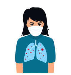 covid19-19 coronavirus symptoms a child with lungs vector image