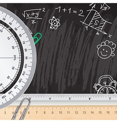 Creative chalkboard school background with rulers vector image