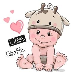 Cute Cartoon Baby boy in a Giraffe hat vector image