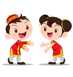 Cute Chinese Kids invite vector image