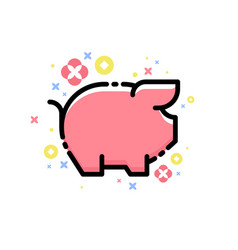 Cute pink pig and decorative elements isolated vector